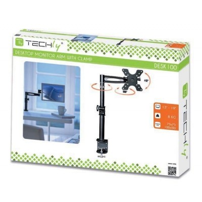 Supporto da scrivania per Monitor 13-27'' braccio medio inclinabile - Techly - ICA-LCD 501BK-1