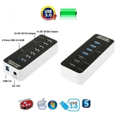 Hub 4 Porte USB 3.0 Super Speed + Caricabatterie USB 1A/2A - Techly - IUSB3-TLYBV7-5