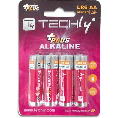 Blister 4 Batterie Power Plus Stilo AA Alcaline LR06 1,5V - Techly - IBT-KAP-LR06T-1
