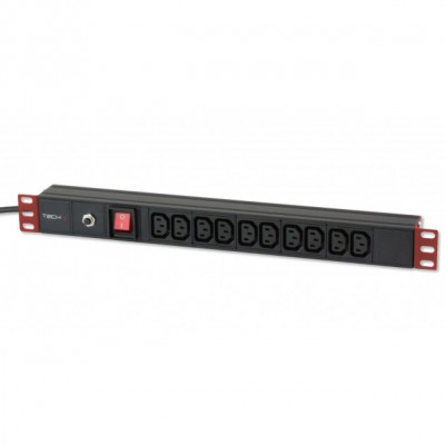 Multipresa per rack 19'' 10 posti VDE con Interruttore e Spina C14 - Techly Professional - I-CASE STRIP-10C-2
