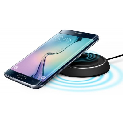 Caricabatterie Wireless Qi Base Circolare per Smartphone Nero - Techly Np - I-CHARGE-WRLB-1