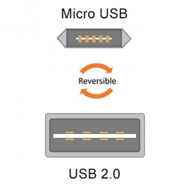 Cavo High Speed USB a MicroUSB Reversibile 0,6m Nero - Techly - ICOC MUSB-A-006S-3