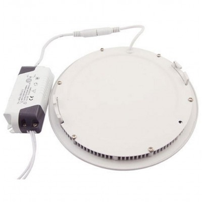 "Pannello Luminoso a LED Rotondo con Diametro 8"" 24W Bianco Neutro - Techly - I-LED-PAN-26W-NW8-8"