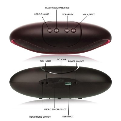 Speaker Portatile Bluetooth Wireless Rugby MicroSD/TF Nero/Rosso - Techly - ICASBL01-5