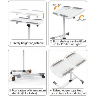 Trolley Flessibile Universale per Notebook / Proiettore, Bianco - Techly - ICA-TB TPM-5-3