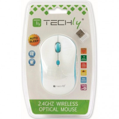 Mouse Wireless 2.4GHz 800-1600 dpi Bianco/Azzurro - Techly - IM 1600-WT-WBW-1