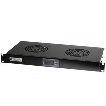 "Gruppo 2 Ventole 1U per Rack 19"" con Termostato LED Nero - Techly Professional - I-CASE FAN-TC2B"