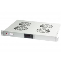 "Gruppo 4 Ventole 1U per Rack 19"" con Termostato LED Grigio - Techly Professional - I-CASE FAN-TC4G"