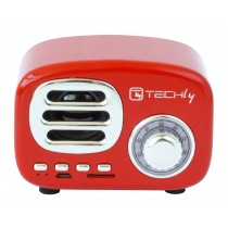 Speaker Bluetooth Wireless, Design Radio Classico, rosso - Techly - ICASBL12RED
