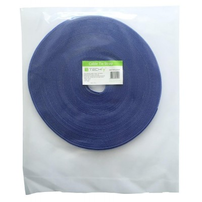 Velcro Cable Tie Roll Length 25 m Width 10 mm Blue - Techly - ISWT-ROLL-1025-1