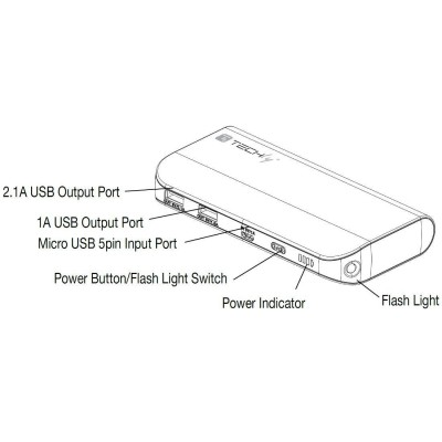 Power Bank 10400 mAh USB Battery Charger for Smartphone Tablet - Techly - I-CHARGE-10400TY-4