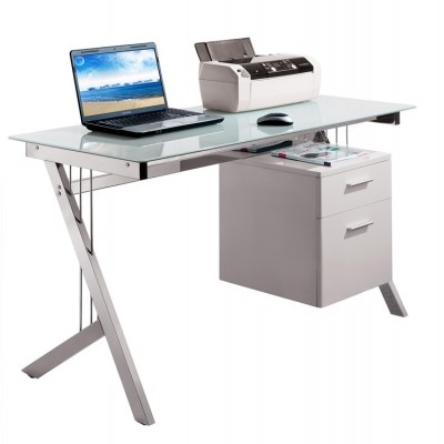 PC Desk with Two Drawers in Stainless Steel and Tempered Glass - Techly - ICA-TB 3365-4