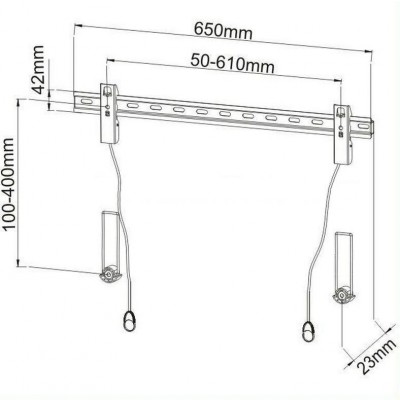 """Fixed Wall Bracket Slim LED LCD TV with Spacers 40-65 """"Black - Techly - ICA-PLB 139L-2"""
