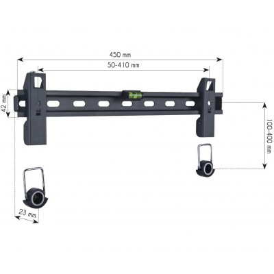 """23-55"""" Wall Fixed Slim Support  for LED TV LCD Black - Techly - ICA-PLB 139M-3"""