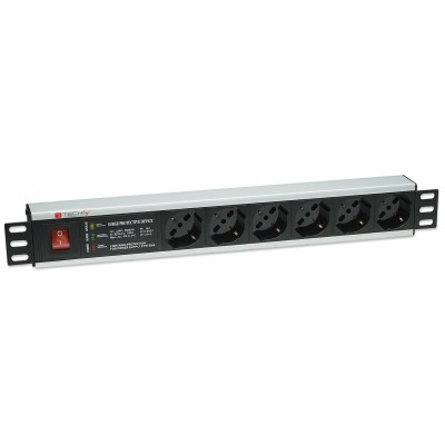 "Rack 19"" PDU 6 outputs with Surge Protection and Switch - Techly Professional - I-CASE STRIP-13P-2"