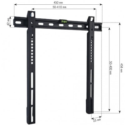 """Wall Fixed Support UltraSlim LED TV LCD 23-55"""" Black - Techly - ICA-PLB 140M-3"""