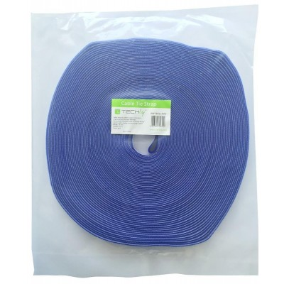 Velcro Cable Tie Roll Length 25 m Width 16 mm Blue - Techly - ISWT-ROLL-1625-1