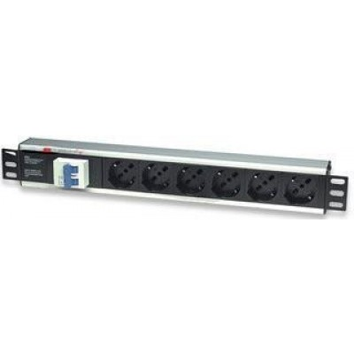 "6 Sockets Rack PDU 19"" with Thermal Magnetic-I-CASE STRIP-16A-Techly Professional"