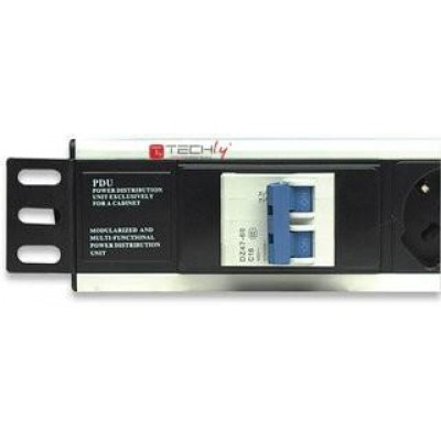 "Rack 19"" PDU 6 outputs with Circuit breaker - Techly Professional - I-CASE STRIP-16A-5"