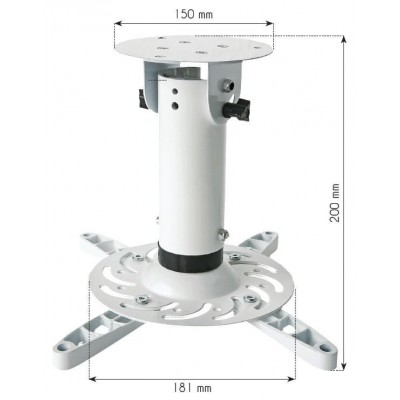 Bracket Universal Projector Ceiling White - Techly - ICA-PM 200WH-2