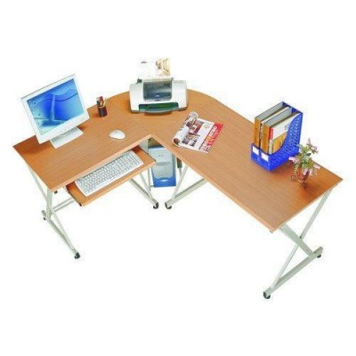 L Form Computer Desk with Removable Tray, Beech - Techly - ICA-TB 212-4