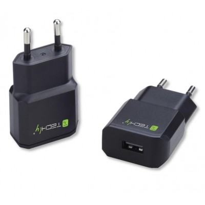Italian Plug Adapter with 1 USB Port 5V / 2.1A Black - Techly - IPW-USB-21ECBK-2