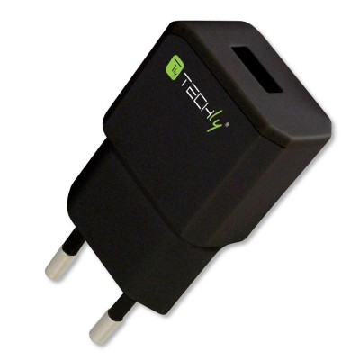 Italian Plug Adapter with 1 USB Port 5V / 2.1A Black - Techly - IPW-USB-21ECBK-1