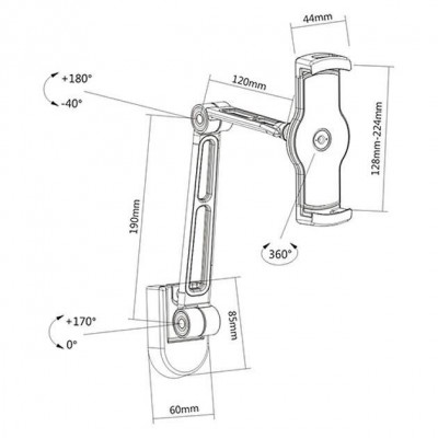 """Wall Extensible Support for Tablet and iPad 4.7""""-12.9"""" - Techly - ICA-TBL 2802-3"""