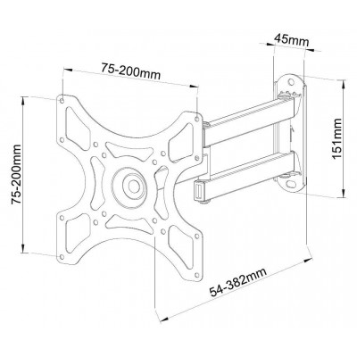 Wall Support for LCD LED 19-37' Full-Motion Black - Techly - ICA-LCD 2923B-4