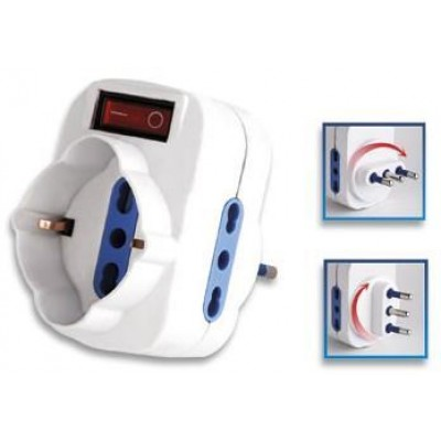 Adapter with Rotating Plug 16A - Techly - IUPS-PCP-2R-1
