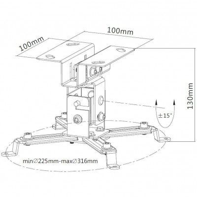 Projector Ceiling Support Extension 130mm Silver - Techly - ICA-PM 2S-2