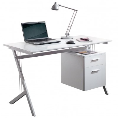 PC Desk with Two Drawers, Color Glossy White - Techly - ICA-TB 3365W-1