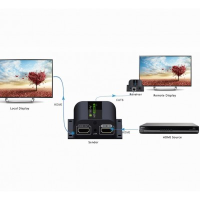 HDMI Extender with IR on Cat. 6 Cable up to 60m - Techly - IDATA EX-HL21D-6