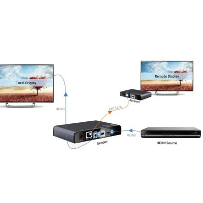 HDbitT HDMI Extender with IR on cable Cat. 5E / 6 up to 120m - Techly - IDATA EXTIP-383IR-10