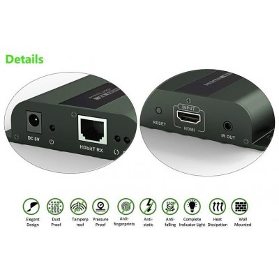 HDMI HDbitT Extender with IR 3D over Cat.6 cable up to 120m - Techly - IDATA EXTIP-383-6