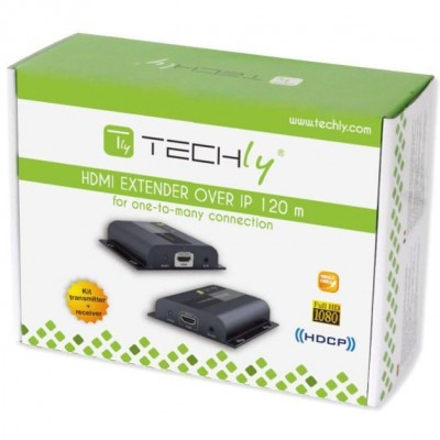 HDMI HDbitT Extender with IR 3D over Cat.6 cable up to 120m - Techly - IDATA EXTIP-383-1