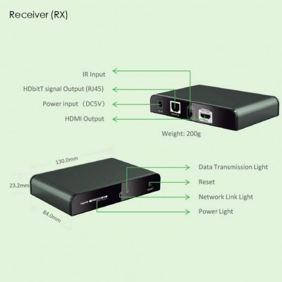 Additional receiver for HDMI Extender with IR HDbitT of Cable Network - Techly - IDATA EXTIP-383IRRX-3