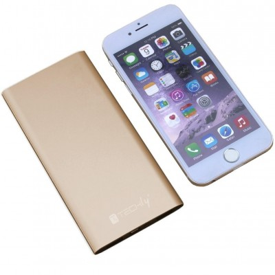 Power Bank Battery Charger Slim Smartphone Tablet 5000mAh USB Gold - Techly - I-CHARGE-5000LITY-5