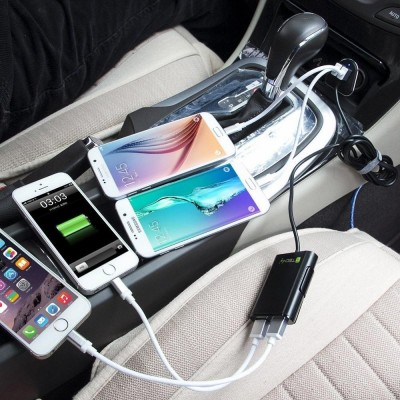 Car Charger 2 USB + 2 USB for Rear Passengers 9.6A Black - Techly - IUSB2-CAR4TY-6