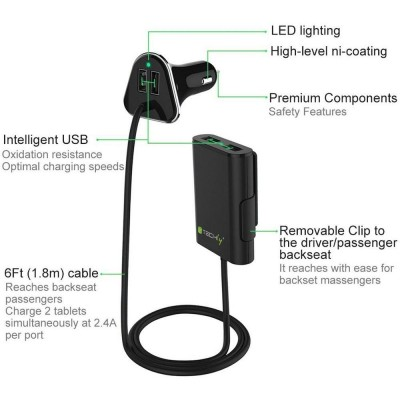 Car Charger 2 USB + 2 USB for Rear Passengers 9.6A Black - Techly - IUSB2-CAR4TY-13