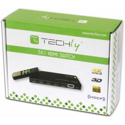 5 IN 1 OUT HDMI Switch with Remote Control, 4Kx2K, 3D - Techly - IDATA HDMI-4K51-1