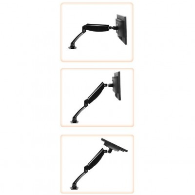 Desk Monitor Arm with Gas Spring for Monitor 10-27 ' Black - Techly - ICA-LCD 512-BK-8
