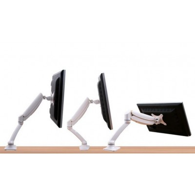 Desk Monitor Arm with Gas Spring for Monitor 10-27' White - Techly - ICA-LCD 512-WH-8