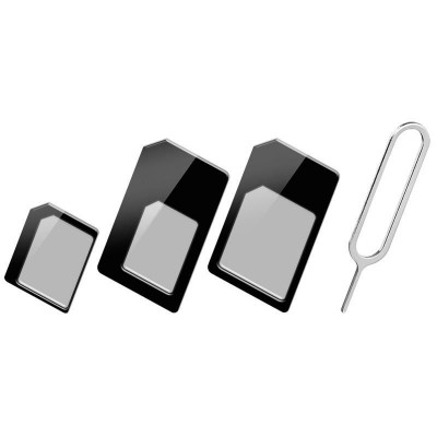 Adapter SIM Card (3 in 1) Nano-SIM. Micro-SIM and SIM Black - Techly - I-SIM-3-1