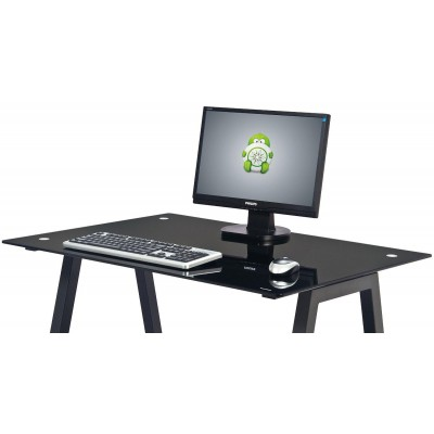 PC Desk with Glass Plan and CPU Holder, Color Black - Techly - ICA-TB 3359-2