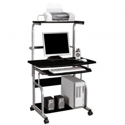 Compact Multi-Function Computer Desk, Glossy Black - Techly - ICA-TB 7800BK-1