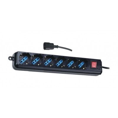 Power Strip 6 Sockets Black with VDE Plug - Techly - IUPS-PCP-6V-4
