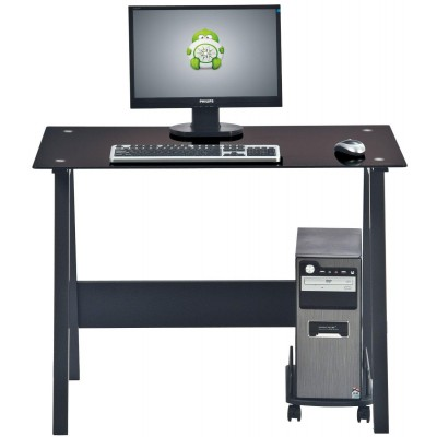PC Desk with Glass Plan and CPU Holder, Color Black - Techly - ICA-TB 3359-3