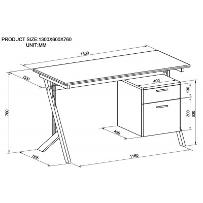 PC Desk with Two Drawers in Stainless Steel and Tempered Glass - Techly - ICA-TB 3365-6