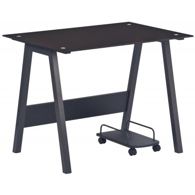 PC Desk with Glass Plan and CPU Holder, Color Black - Techly - ICA-TB 3359-5